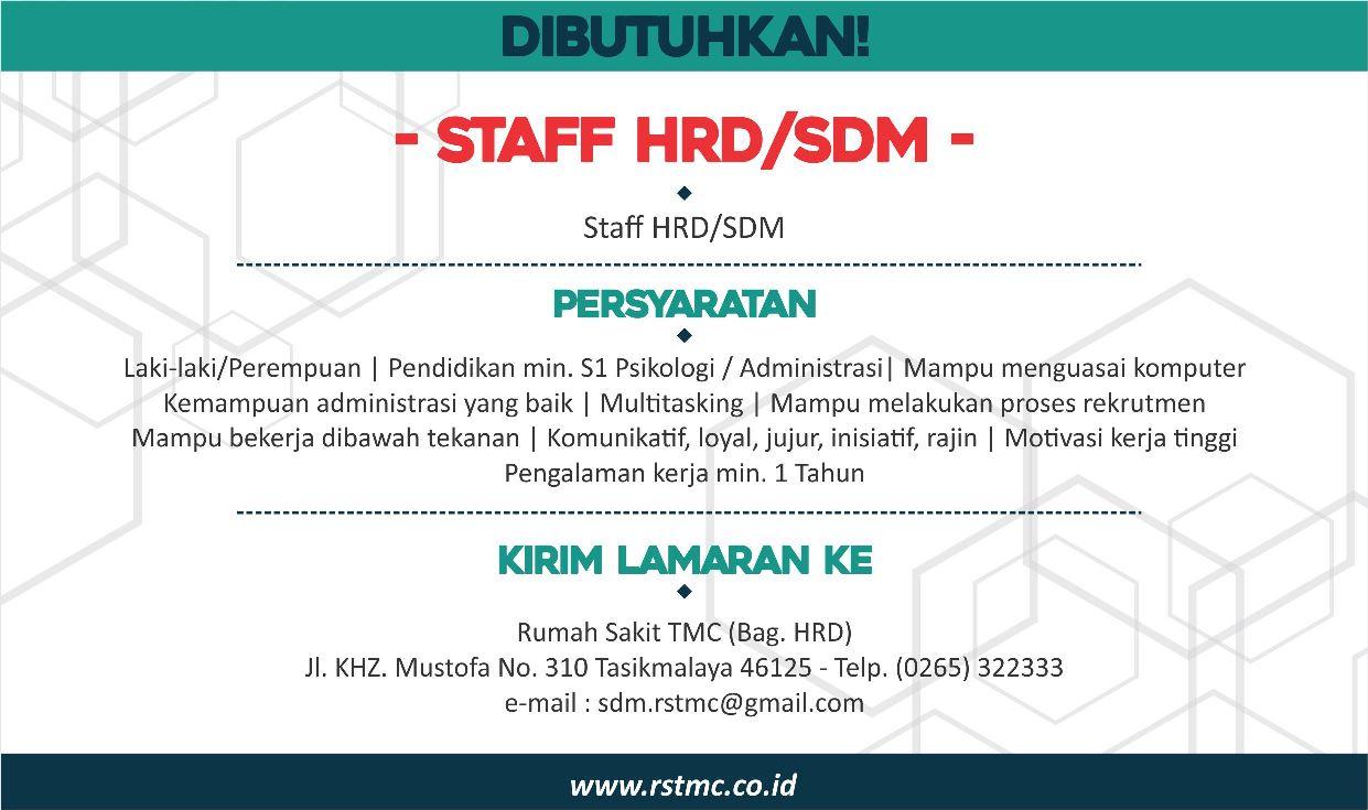 Lowongan Kerja Rs Tmc Hrd Sdm